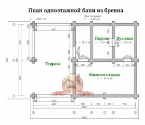 Планировка 1 этажа проекта просторной элитной бани из бревна 7.6х10.6