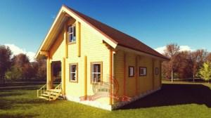 Двухэтажный бревенчатый дом с сауной