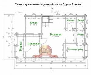 Планировка 1 этажа двухэтажного дома 7х11.5 с сауной