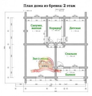 Планировка 2 этажа проекта дома 9х10 из оцилиндрованного бревна