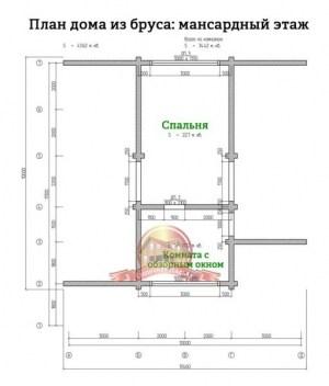 Планировка 2 этажа стильного дома из профилированного бруса 10х11