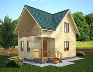 Проект деревянного дома 6х8 из бруса с террасой, НБ-01