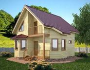 Проект двухэтажного брусового дома 8х8, НБ-03