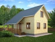 Брусовой двухэтажный дом 6х8 с террасой, 3 спальнями, НБ-04