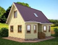 Проект дома из бруса 7х9 с отличной планировкой, эркером и санузлом, НБ-10