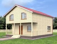 Двухэтажный брусовой дом 8х10 с террасой, НБ-11