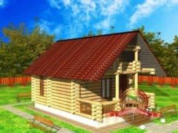 ДС-1. Проект дома из бревна 6 на 6 метров