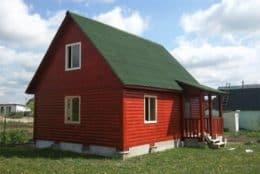 Киров. Дом из бруса под крышу с внешней отделкой и покраской стен
