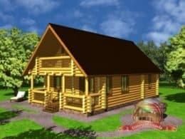 Дом из оцилиндрованного бревна 7.2х11.2 с террасой, СД-1