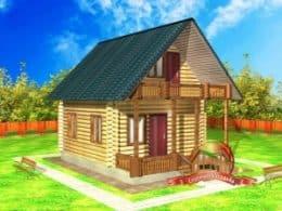 ДС-14. Проект дома из бревна 4 на 9 метров