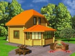 Дом из оцилиндрованного бревна 7х8.2 с верандой, проект СД-19