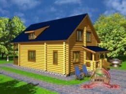 Дом из оцилиндрованного бревна 12х13.7 с гаражом, проект СД-20
