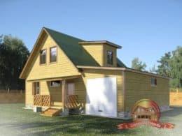 Проект дома из бруса 9х12 с гаражом и котельной, 2 этажа, БГ-4