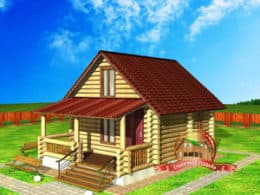 Проект дома из бревна 6 на 9 метров, ДС-6