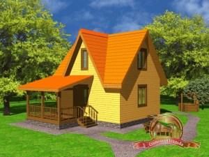 Дом из бруса 7х6 с террасой, ДБ-7