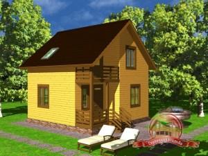 Дом из бруса 7х7 с крыльцом, ДБ-9