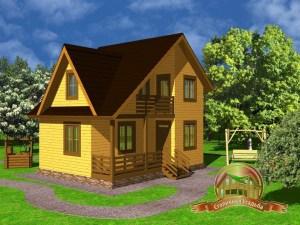 Дом из бруса 6х8 с террасой и ломаной крышей