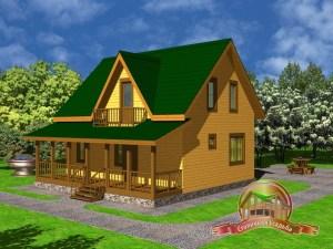Дом из бруса 7х9 с террасой, проект ДБ-22