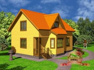 Просторный дом из бруса 8х10.5 с тремя спальнями