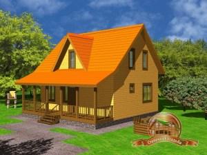 Дом из бруса 7х9 с террасой, ДБ-27
