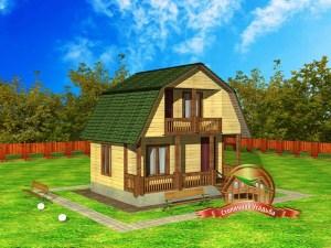 ДБ-8. Проект дома из бруса 6 на 6 метров с террасой