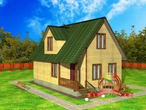 Классический дом из бруса 5.8 на 8.8 с тремя спальнями