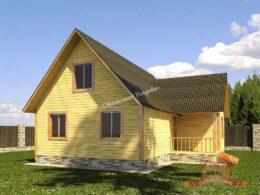 Сруб дома из бруса 6х9 с ломаной крышей, НБ-31