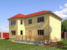 Брусовой дом 9.5х13 с террасой в 2 этажа, НБ-32