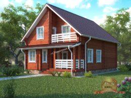 Дом из профилированного бруса 9х12 с верандой и балконом, НБ-36