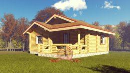 Элитный проект одноэтажного дома из оцилиндрованного бревна 8х10, ЭД-01