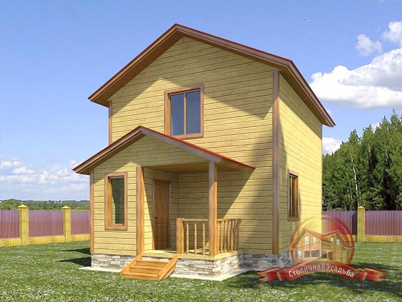 Двухэтажный коттедж из бруса 6х9 для узкого участка