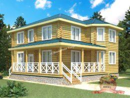 Большой двухэтажный дом из оцилиндрованного бревна 12х12 с террасой, КС-04