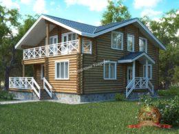 Дом из оцилиндрованного бревна 9х13, проект КС-05, фото