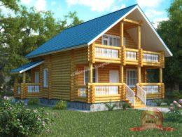 Дом из оцилиндрованного бревна 9.8х9 с двумя входами, КС-06
